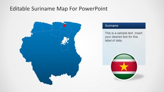 Blue PowerPoint Map of Suriname