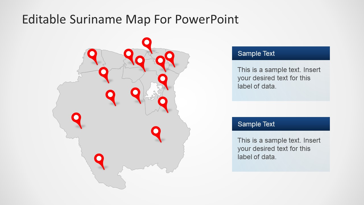 Template of Suriname Map Text Placeholders
