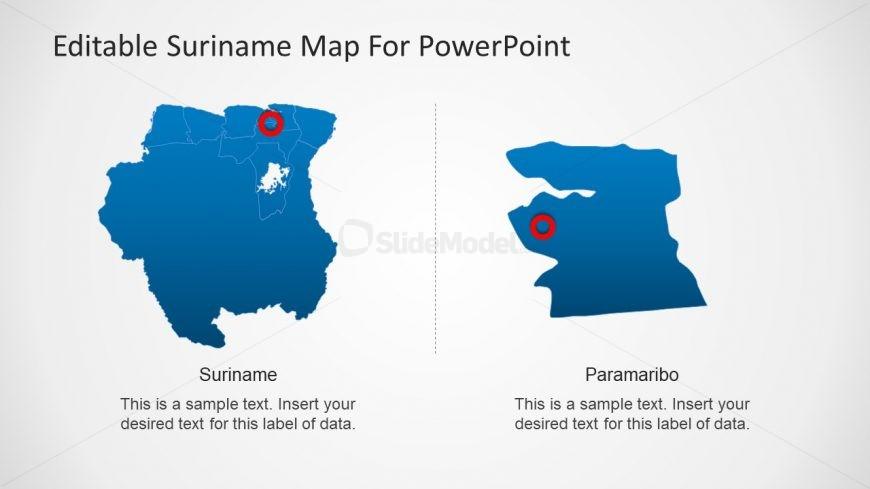 Blue Map of Suriname and Paramaribo