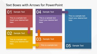5 Steps Flat Textboxes Workflow PowerPoint Diagram