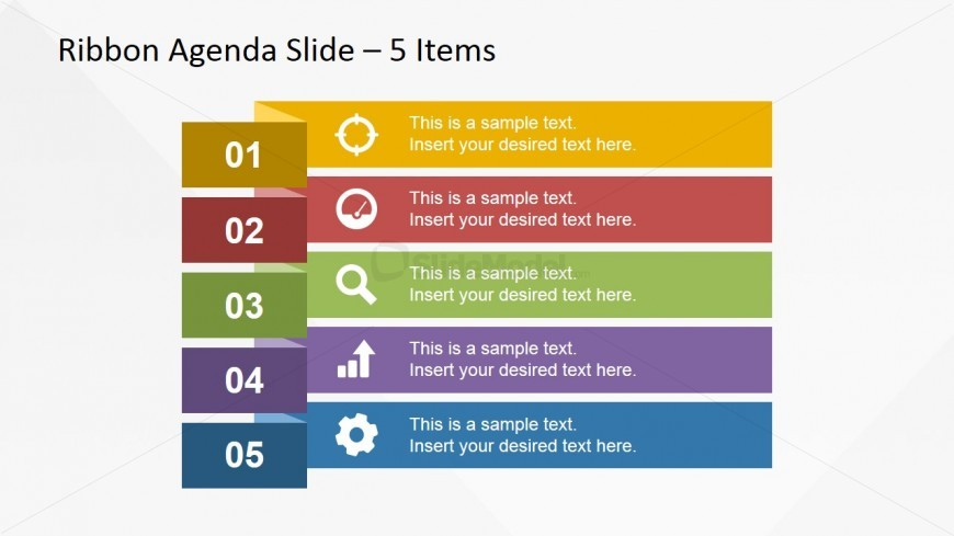 narrow ribbon design for presentation agenda slides slidemodel. Black Bedroom Furniture Sets. Home Design Ideas
