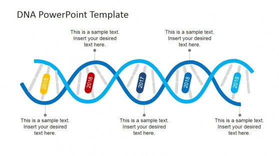 DNA Strands Timeline Design for PowerPoint