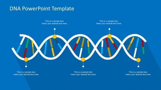 DNA PowerPoint Template in Blue Background