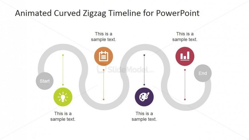 PowerPoint Curved Zigzag Timeline Greyed