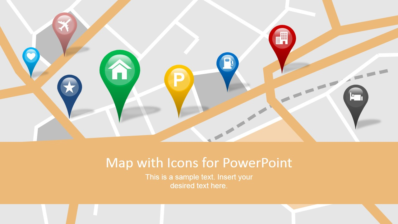 Map with GPS Icons PowerPoint Template - SlideModel