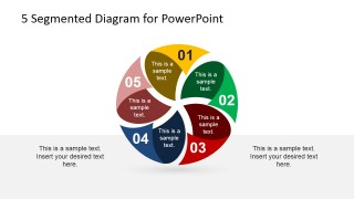 5 Steps Segmented Diagram Design 3D Sphere