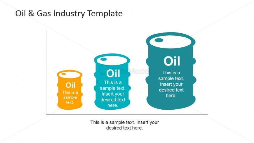 PowerPoint Oil Barrel Shapes featuring Production Chart