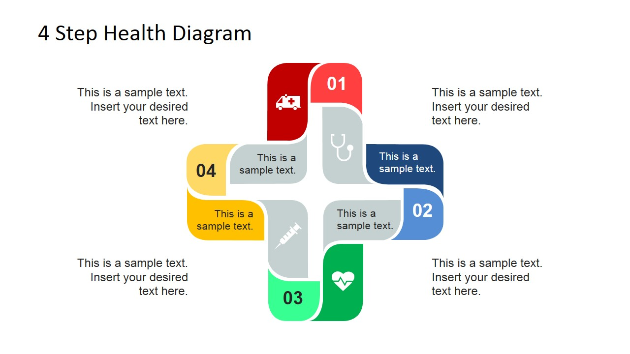 4 Step Cross Healthcare Diagram For Powerpoint