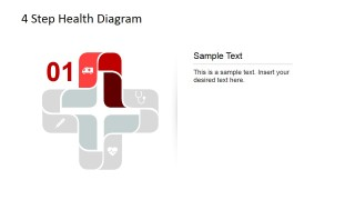 Ambulance Icon 4 Step Health Care Diagram for PowerPoint