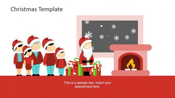 Christmas Scene Family and Santa Near Fireplace