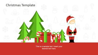 PowerPoint Scene Clipart with Christmas Tree and Candy Cane