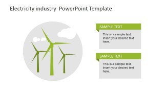 Flat Design Electricity Windmills Clipart for PowerPoint