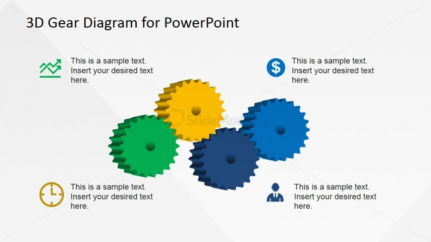 3D Gear Clipart Designs with 4 Components for PowerPoint