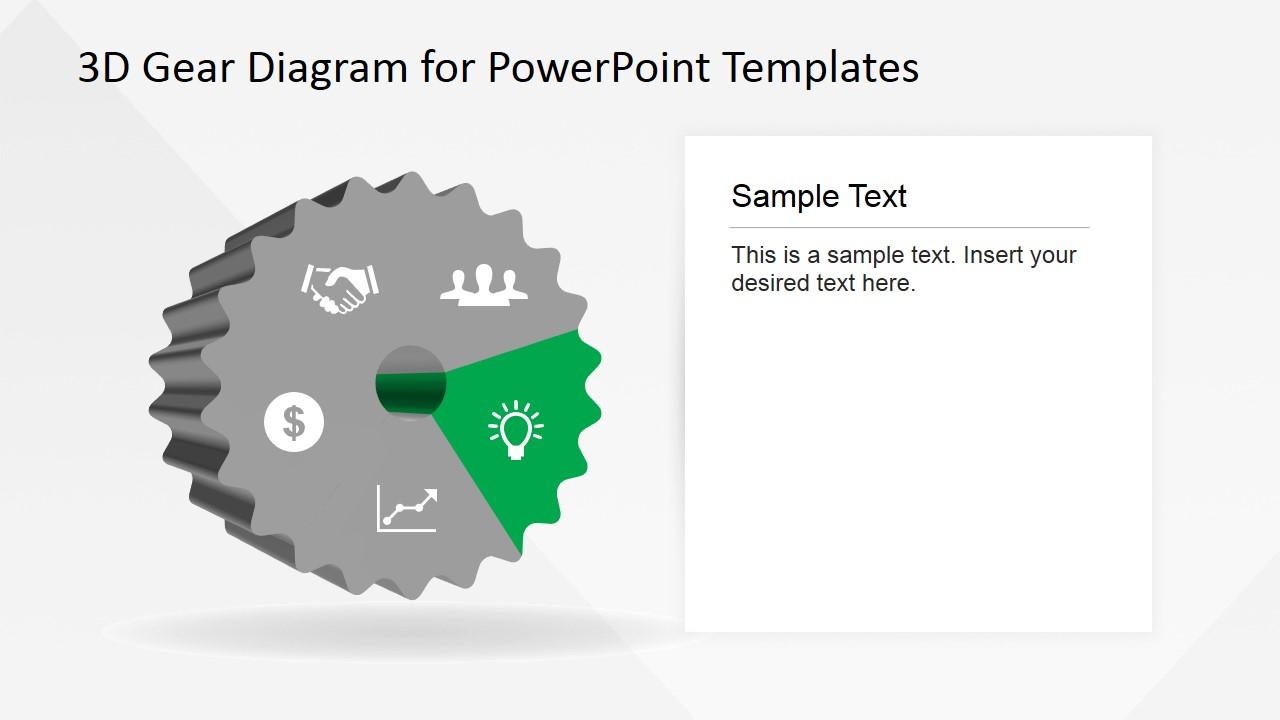 Light Bulb PowerPoint Icon in 3D Gear