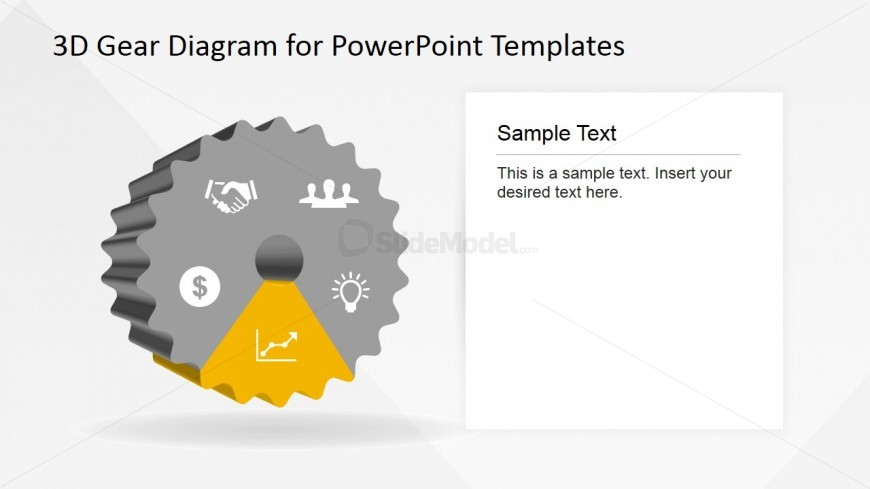 PowerPoint Line Graph Icon Highlighted in Gear