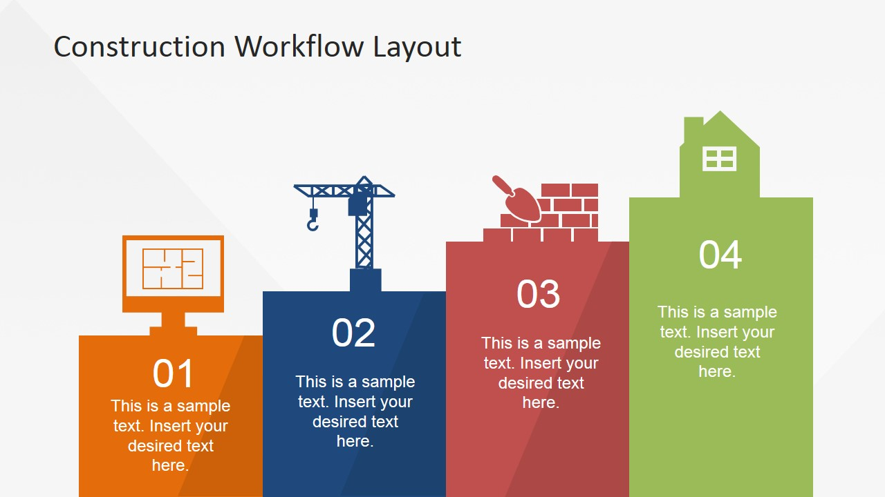 Construction workflow layout for powerpoint slidemodel for Steps to start building a house
