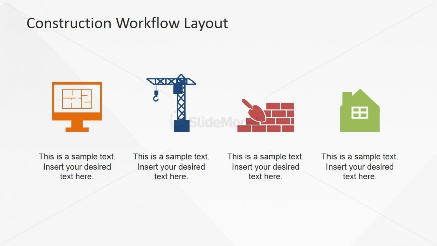 Clip art icons 4 Step Workflow Model for Construction Industry