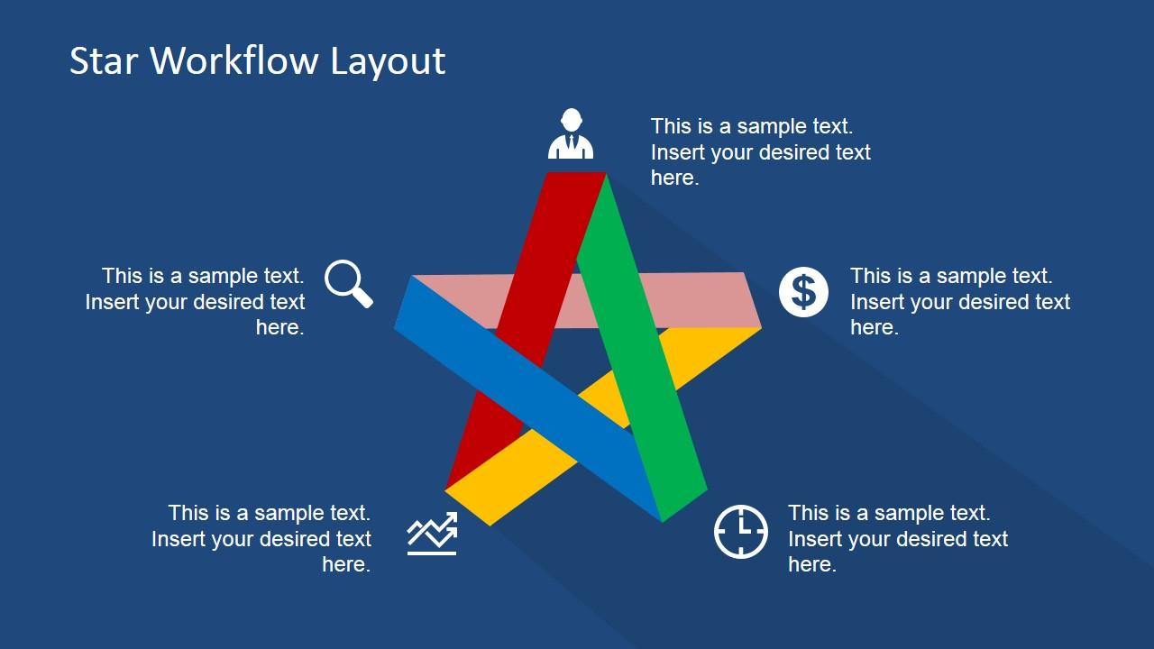 five steps flat star diagram for powerpoint slidemodel. Black Bedroom Furniture Sets. Home Design Ideas