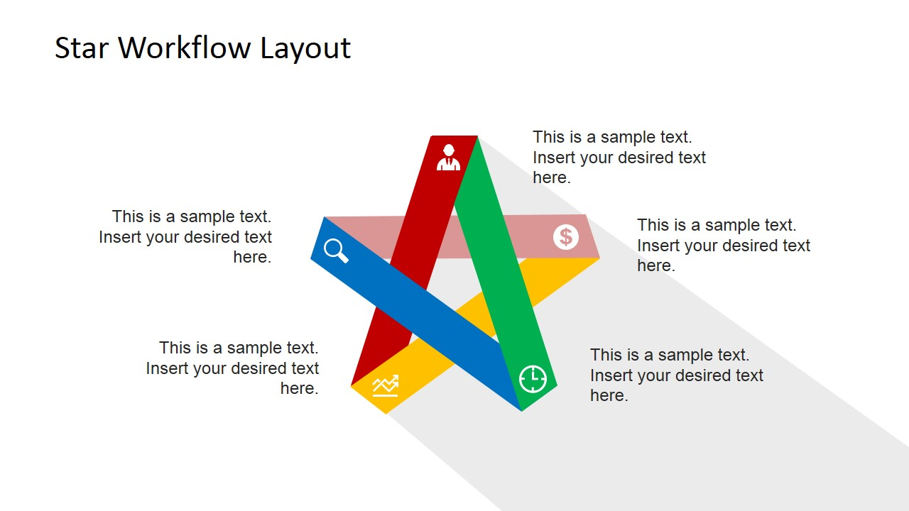Five Steps Flat    Star       Diagram    for PowerPoint  SlideModel