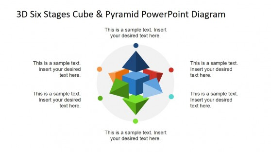 Circular Diagram with 3D Cube & Pyramid PowerPoint Shapes