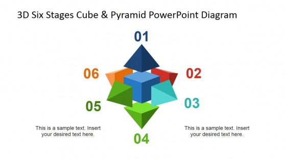 Numbered Cube and Pyramid PowerPoint Diagram