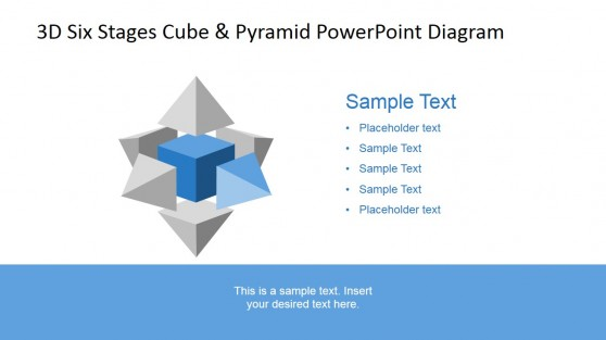 Front Right Cube Side Pyramid 3D Diagram for PowerPoint