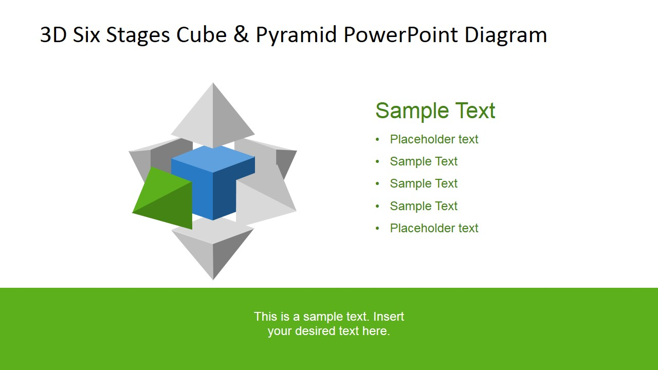 PowerPoint 3D Pyramid in Front Left Cube Side
