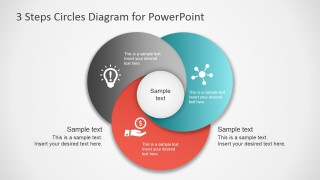 3 Step Diagram for PowerPoint Overlapping Circles