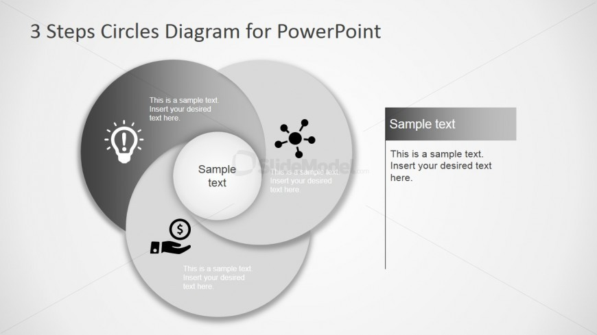 PowerPoint Circular Diagram with First Step Highlighted