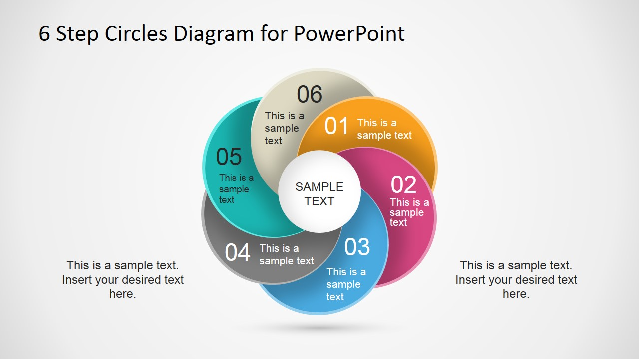 six steps flat petal diagram for powerpoint - slidemodel
