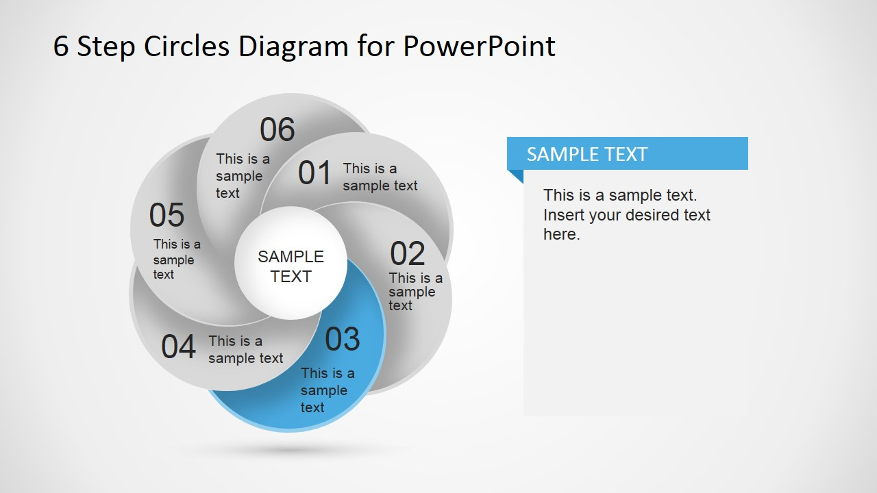 6 step circles diagram for powerpoint slidemodel six steps overlapping circular diagram with third step highlight powerpoint overlapping circles form ccuart Image collections