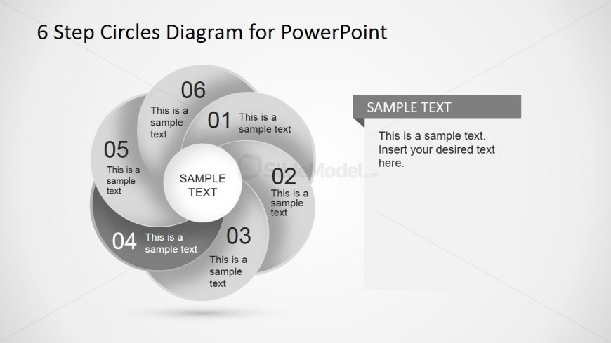 PowerPoint Overlapping Circles Form 6 Steps Diagram
