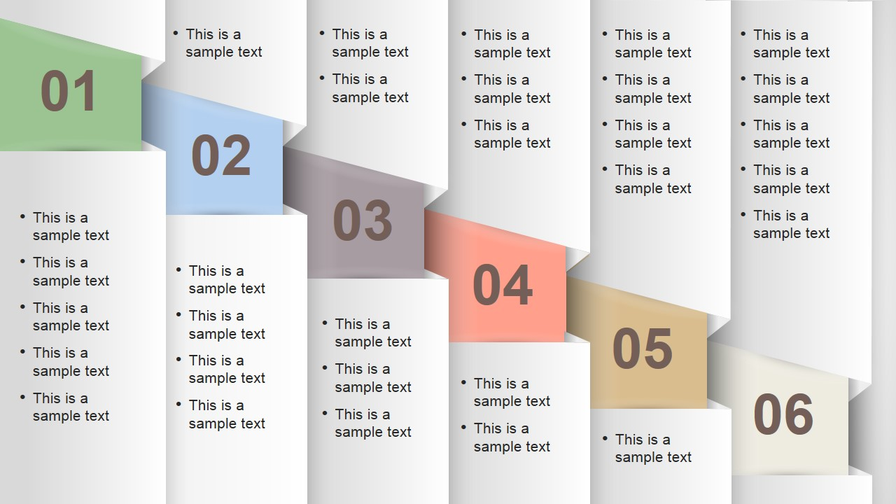 Numbered vertical banner template layout for powerpoint for Text table design