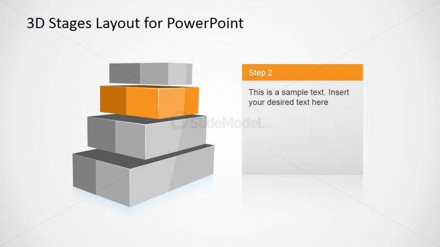 4 Levels 3D Staged Diagram for PowerPoint - Level 2