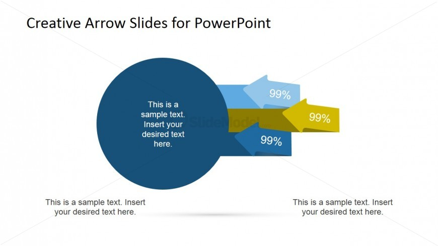 Circles Diagram with Arrows for PowerPoint 3 Step