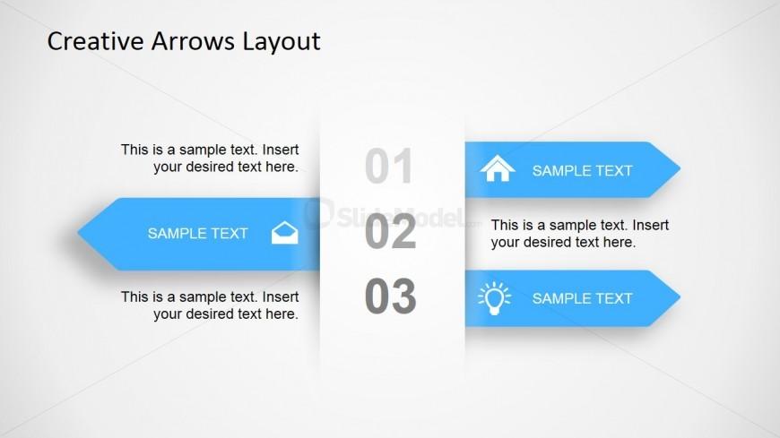 3 Step Creative Arrow Diagram For Powerpoint Slidemodel