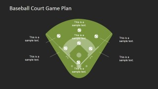 Flat Baseballs and Court PowerPoint Diagram