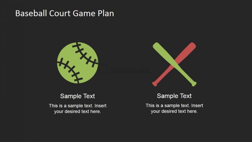 Flat Baseball and Bat PowerPoint Shapes