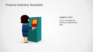 PowerPoint Shapes of Jane with a Bank ATM