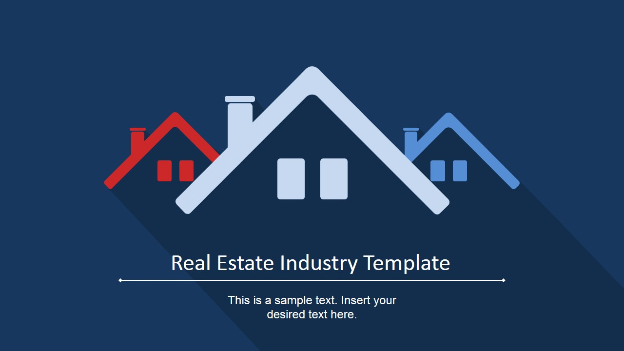 Real estate industry powerpoint template slidemodel real estate industry powerpoint template three roofs with chimney clipart and text placeholder housing toneelgroepblik