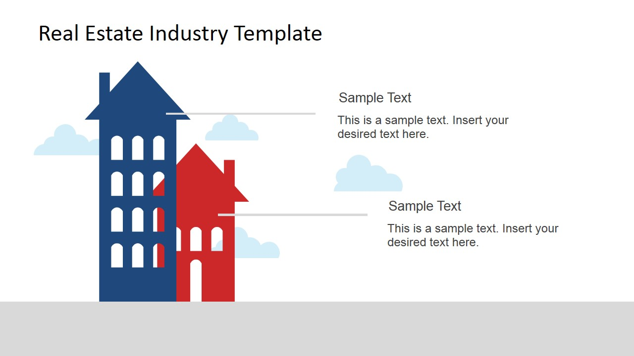 Real estate industry powerpoint template slidemodel real estate powerpoint two colored buildings with text placeholders toneelgroepblik Choice Image