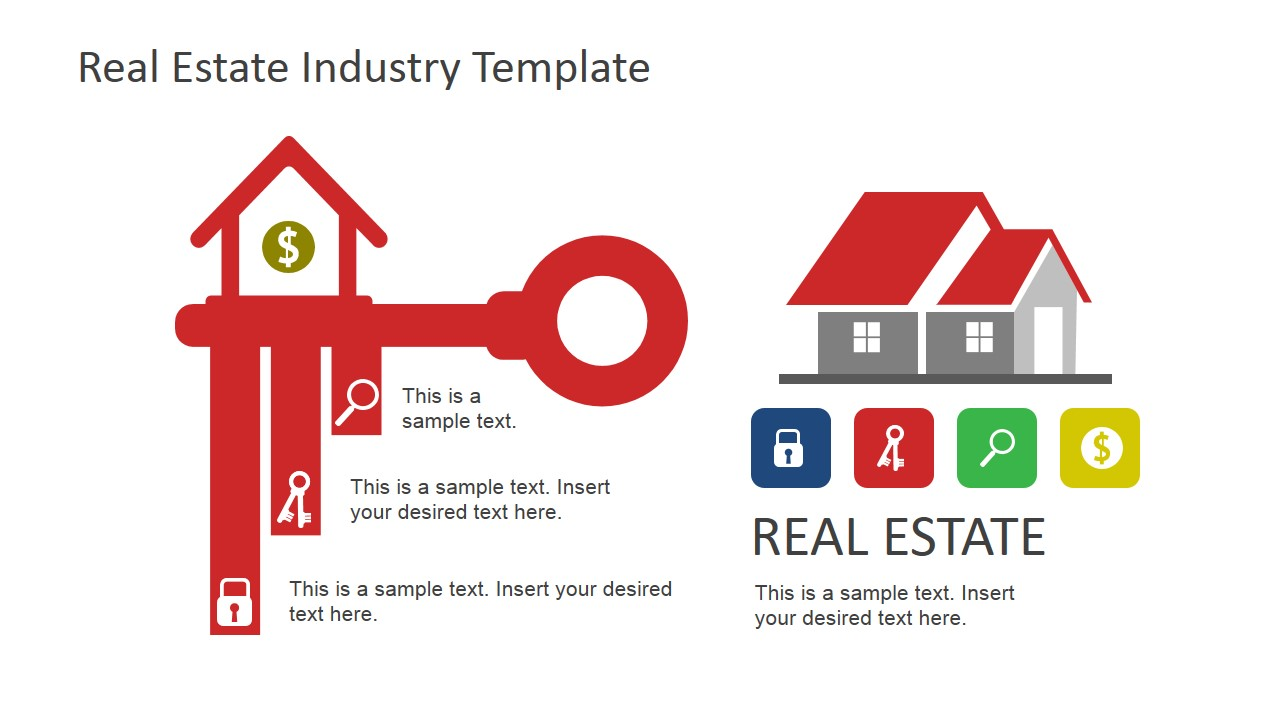 key dollar sign and house icons for real estate slidemodel