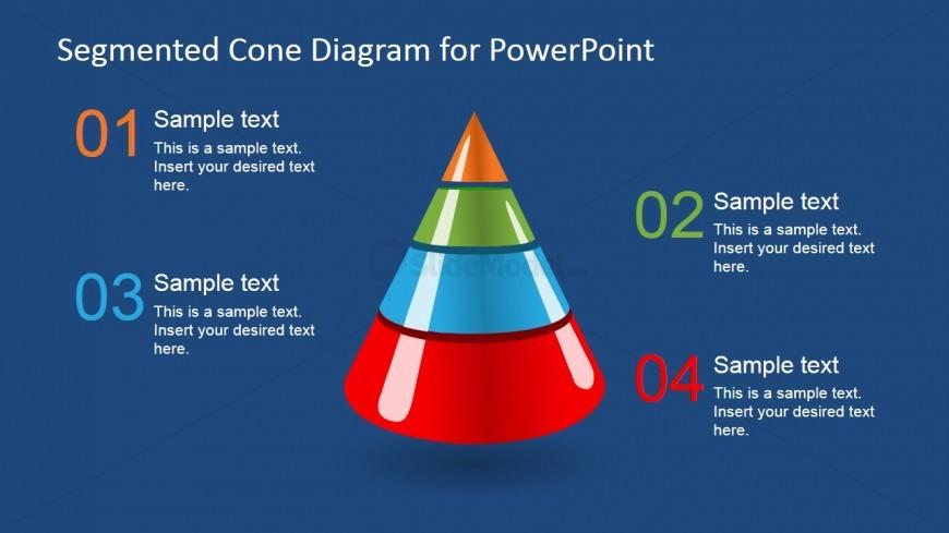 3D Segmented Cone Diagram for PowerPoint - 4 Segments
