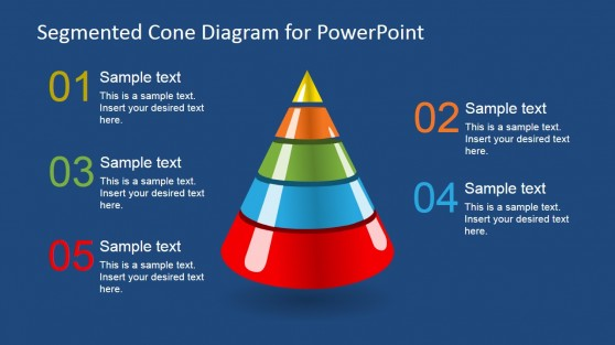 3D Segmented Cone Diagram for PowerPoint - 5 Segments