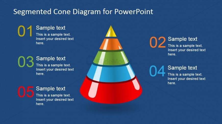 3D Segmented Cone Diagram for PowerPoint - 5 Segments