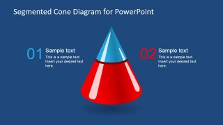 3D Segmented Cone Diagram for PowerPoint - 2 Segments