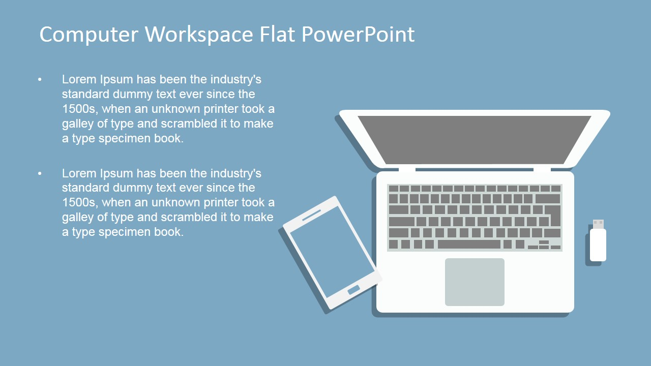 Computer workspace flat powerpoint shapes slidemodel creative powerpoint design for modern presentation template design for mobile workspace alramifo Choice Image