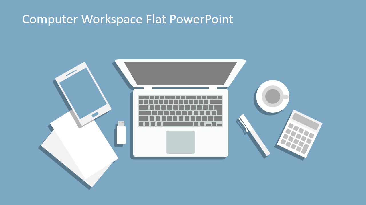 Computer workspace flat powerpoint shapes slidemodel creative template for internet marketing illustration alramifo Choice Image