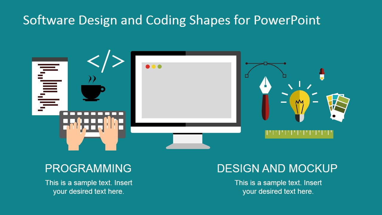 Software design and coding shapes for powerpoint slidemodel for Website planning tool