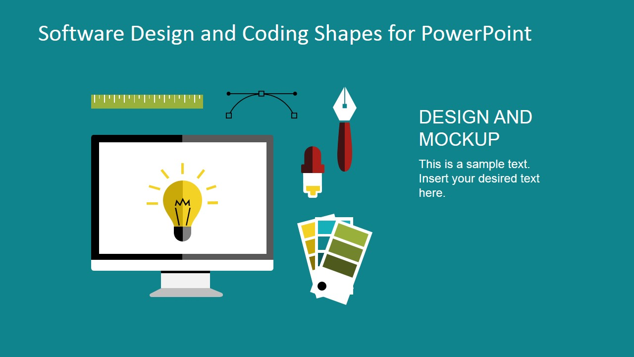 Flat Material Design PowerPoint Clipart Designers Tools